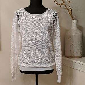 Flirty Lacy White Light Weight Jumper